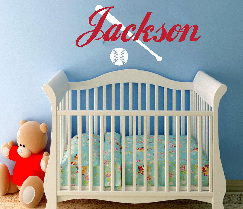 Baseball Wall Decal With Name Children Nursery Bedroom Decor Vinyl Art Sticker Bat And Cb128b 25 00 Via Etsy