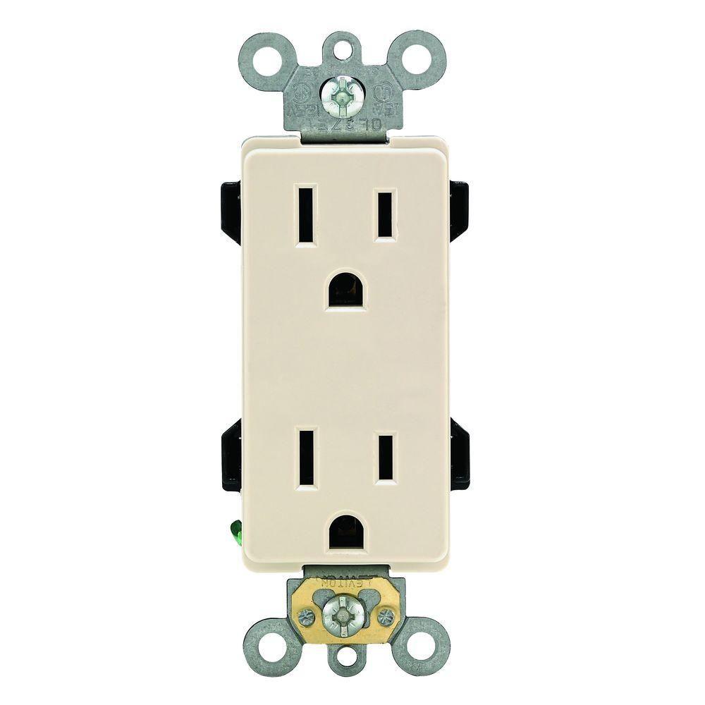 Decora Plus 15 Amp Duplex Outlet, Light Almond