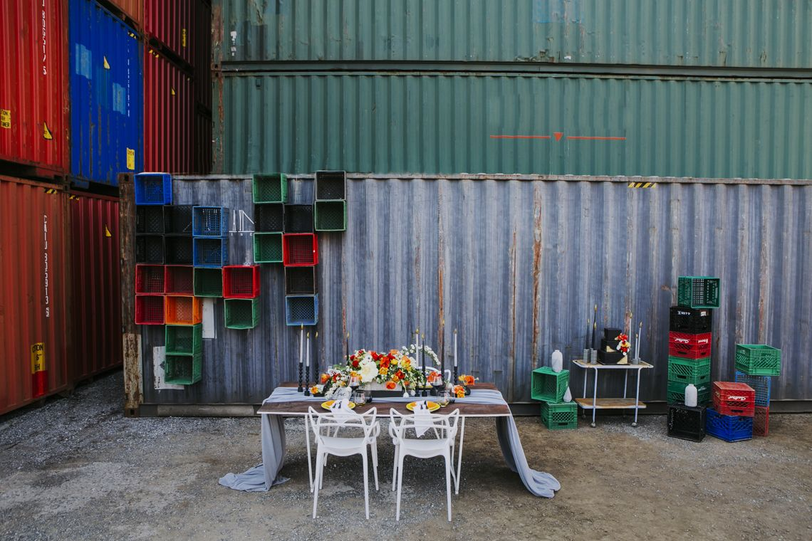 Gorgeous Industrial Wedding Editorial At A Storage Container Yard
