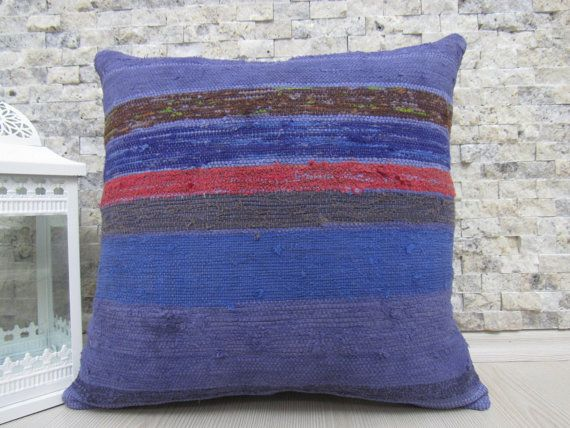 Rare Overdyed Rug Kilim Pillow 18 x 18 Decorative Aztec Pillow