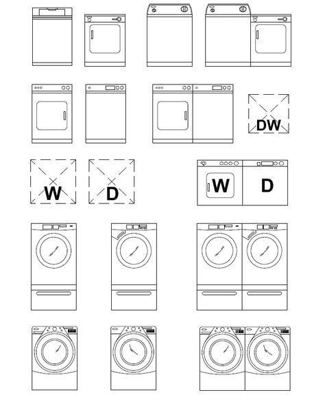 Archblocks Autocad Washer Amp Dryer Block Symbols In 2019
