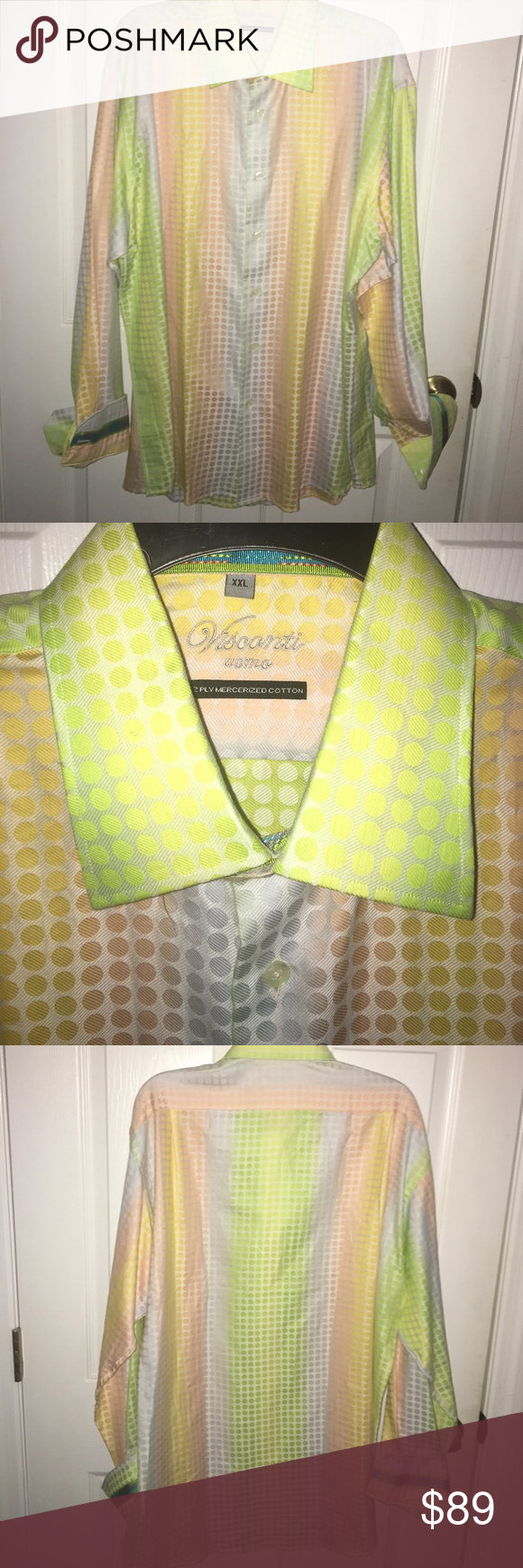 Luciano Visconti Uomo Pastel Polka Dot Shirt XXL Luciano Visconti Uomo 2-Ply Mercerized Cotton pastel multicolor polkadot flip cuff shirt colors are green, yellow, orange & lavender with a beautiful turquoise blue stripe on the flip cuff and inside collar SZ XXL visconti Shirts Dress Shirts