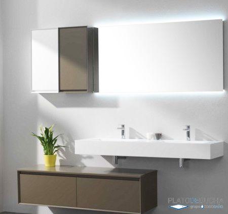 Mueble de ba o luxor v mueble de 120 cm con 2 cajones y for Muebles para lavabos suspendidos