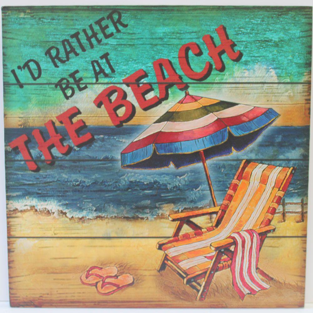 I D Rather Be At The Beach Wood Sign Coastal Beach Decor