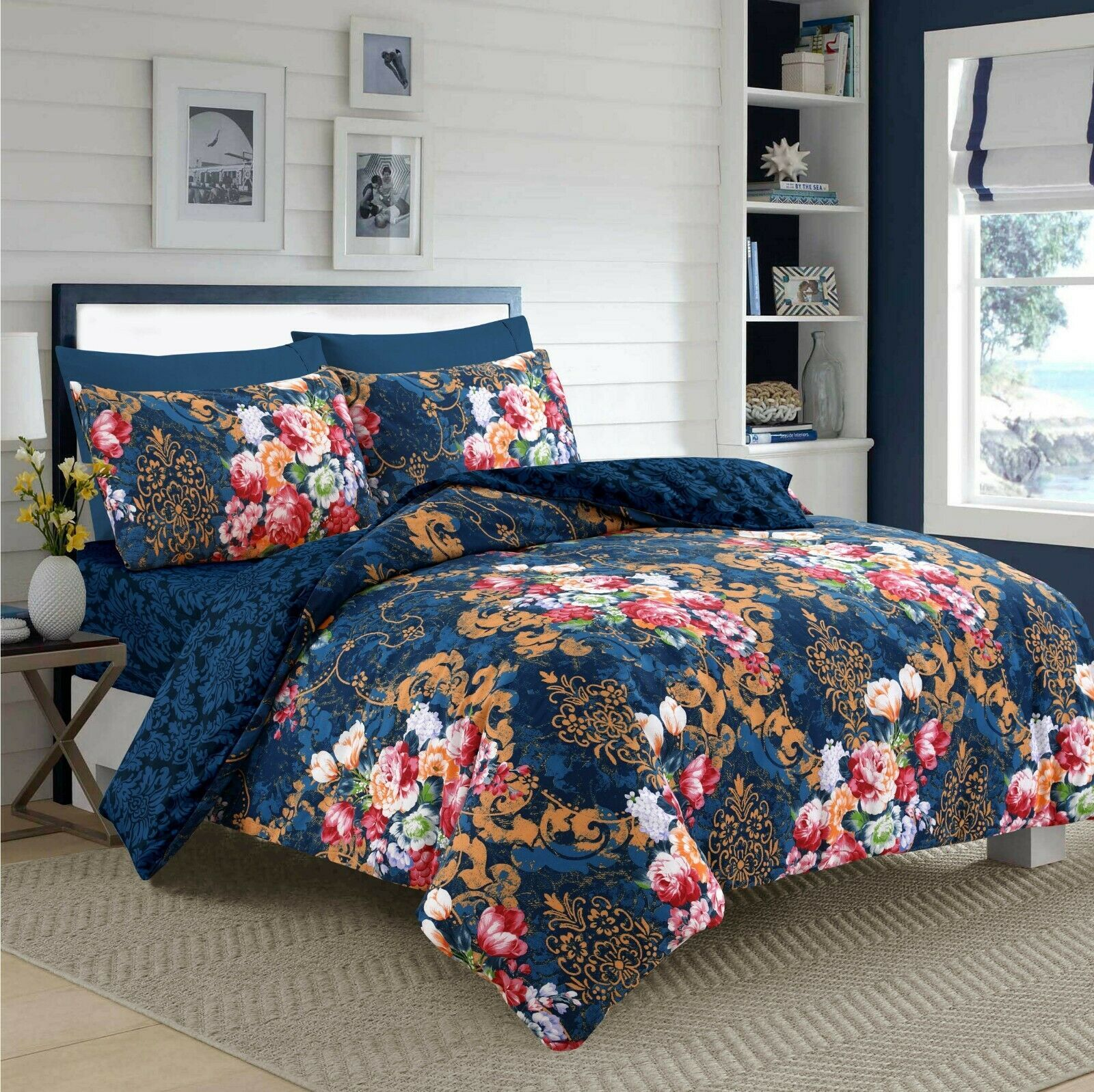 Latest Best Quality Navy Colour 4 Piece Floral Duvet Quilt