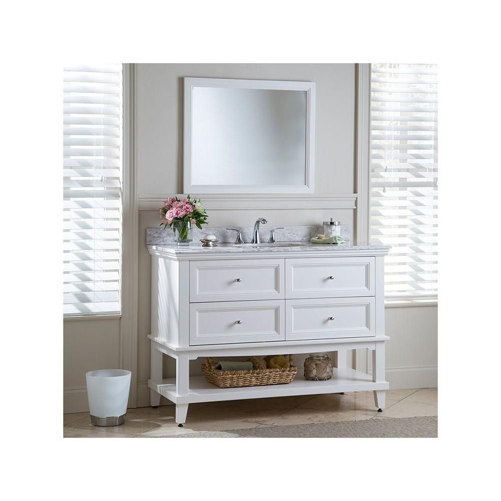 Image Of Home Decorators Collection Teasian in W x in D Bath Vanity in Cream with Stone Effects Vanity Top in Winter Mist