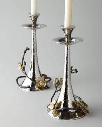 Two Gold Orchid Taper Candleholders Accessories Handmade