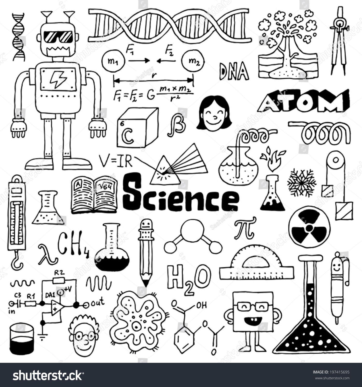 School Science Doodles 2 Hand Drawn Vector Illustration