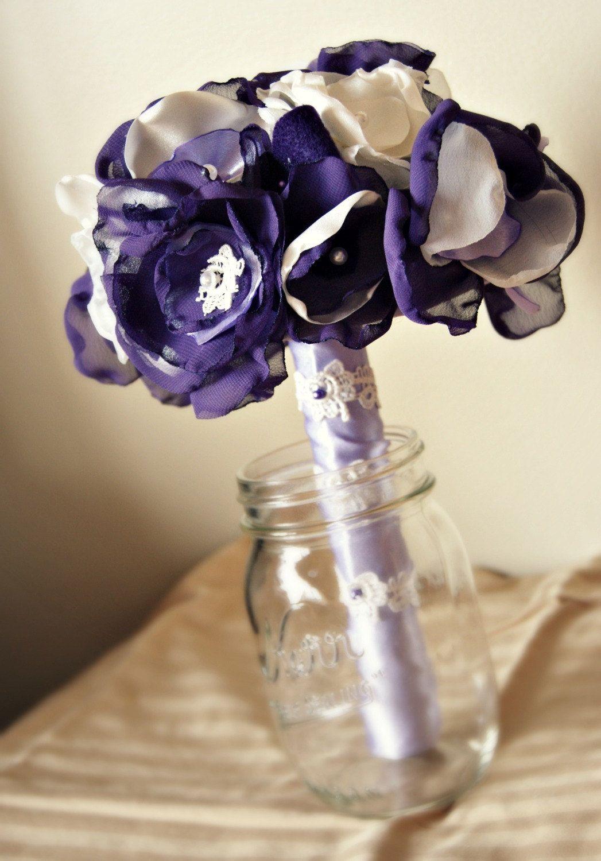 Plum and Lavender Wedding Bouquet - Fabric Bouquet - Wedding Accessory Bridal Bouquet - Fabric Flowers - Royal Bouquet. $210.00, via Etsy.
