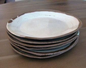 Handmade White Dinner Plates Rustic Stoneware Dinnerware Plates Organic White Plates Freeform Set of Dinner Plates -Each Sold Separately- & Ceramic Dinner Plates Handmade Dinnerware Farmhouse Rustic Cream ...