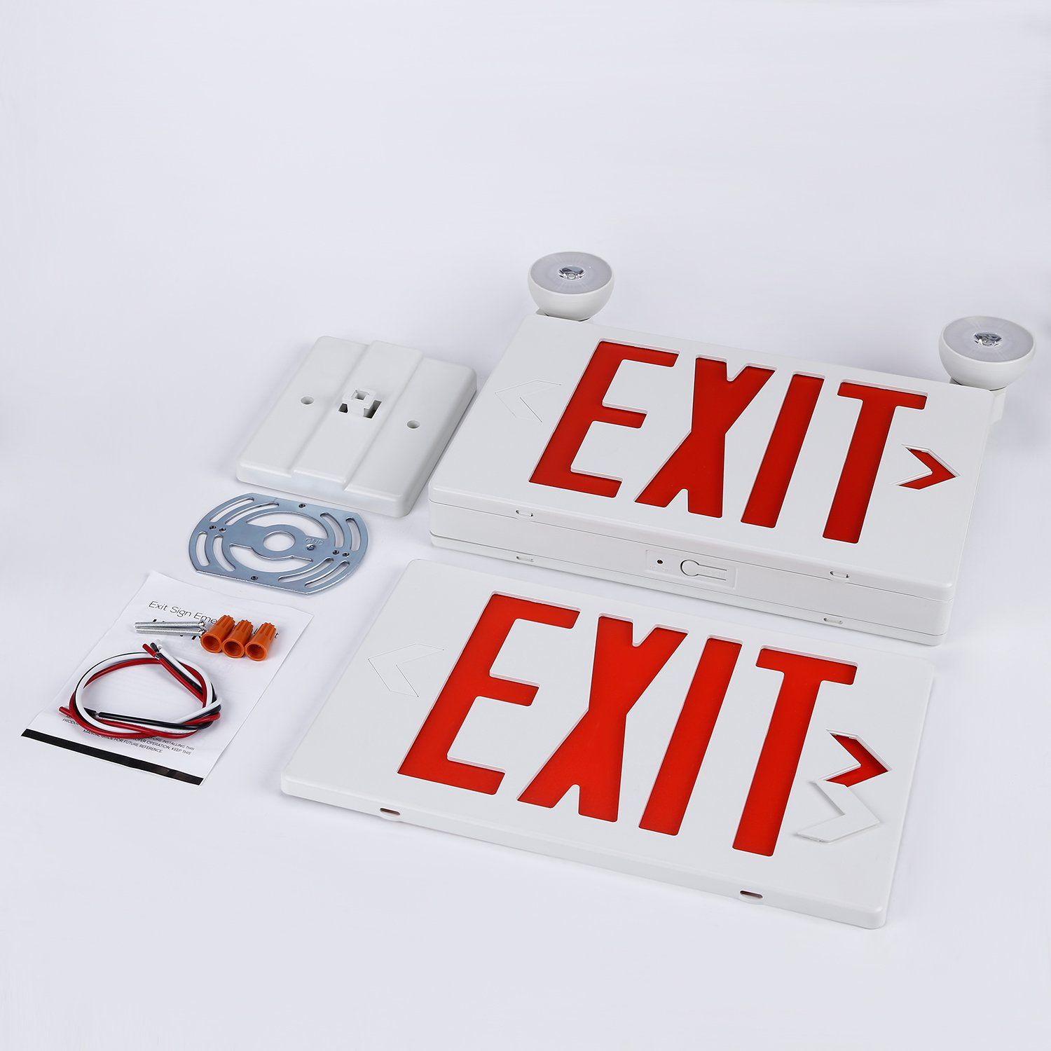 Red Led Exit Sign With Ul Listed Emergency Light Ac 120v 277v Battery Included Ceiling Side Back Mount Sign Emergency Lighting Red Led Lighting Ceiling Fans