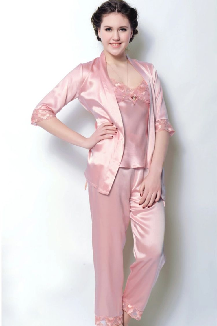 Pearl White Silk Pajamas Set For Women  0955e629e