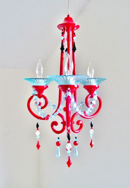 Red pink and aqua 3 arm nursery chandelier made to order nursery red pink and aqua 3 arm nursery chandelier made to order aloadofball Images