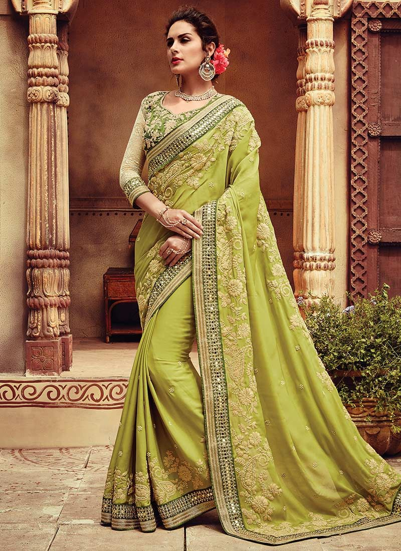 Saree for women wedding pear green embroidered saree  female beauty personality seen in