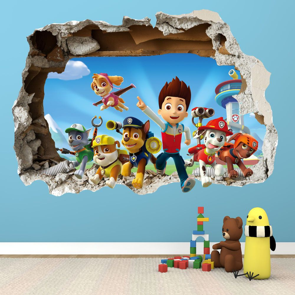 paw patrol smashed wall sticker 3d bedroom boys girls vinyl wall paw patrol smashed wall sticker 3d bedroom boys girls vinyl wall art decal