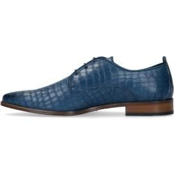 Photo of Blue leather lace-up shoes with a crocodile pattern (40.41.42.43.44.45.4 …