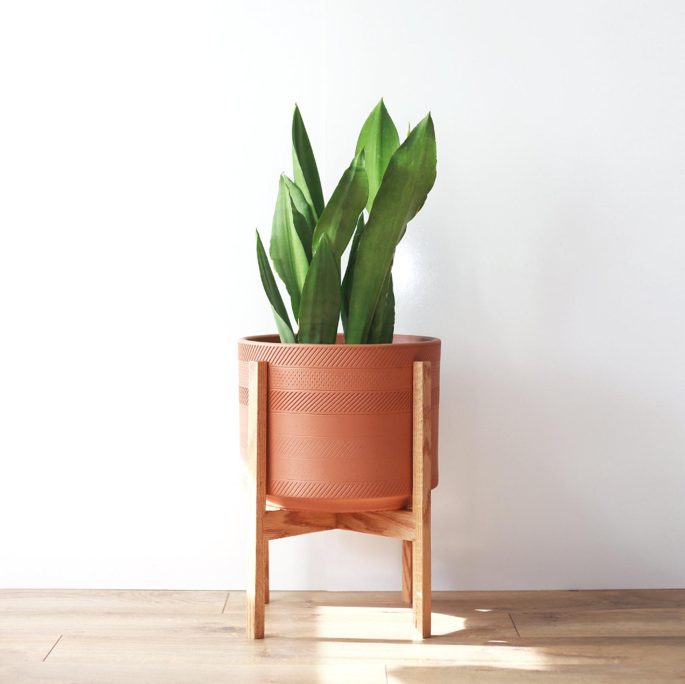 Large Mid Century Modern Deco Planter With Plant Stand Etsy Mid Century Modern Planter Wood Plant Stand Modern Planters