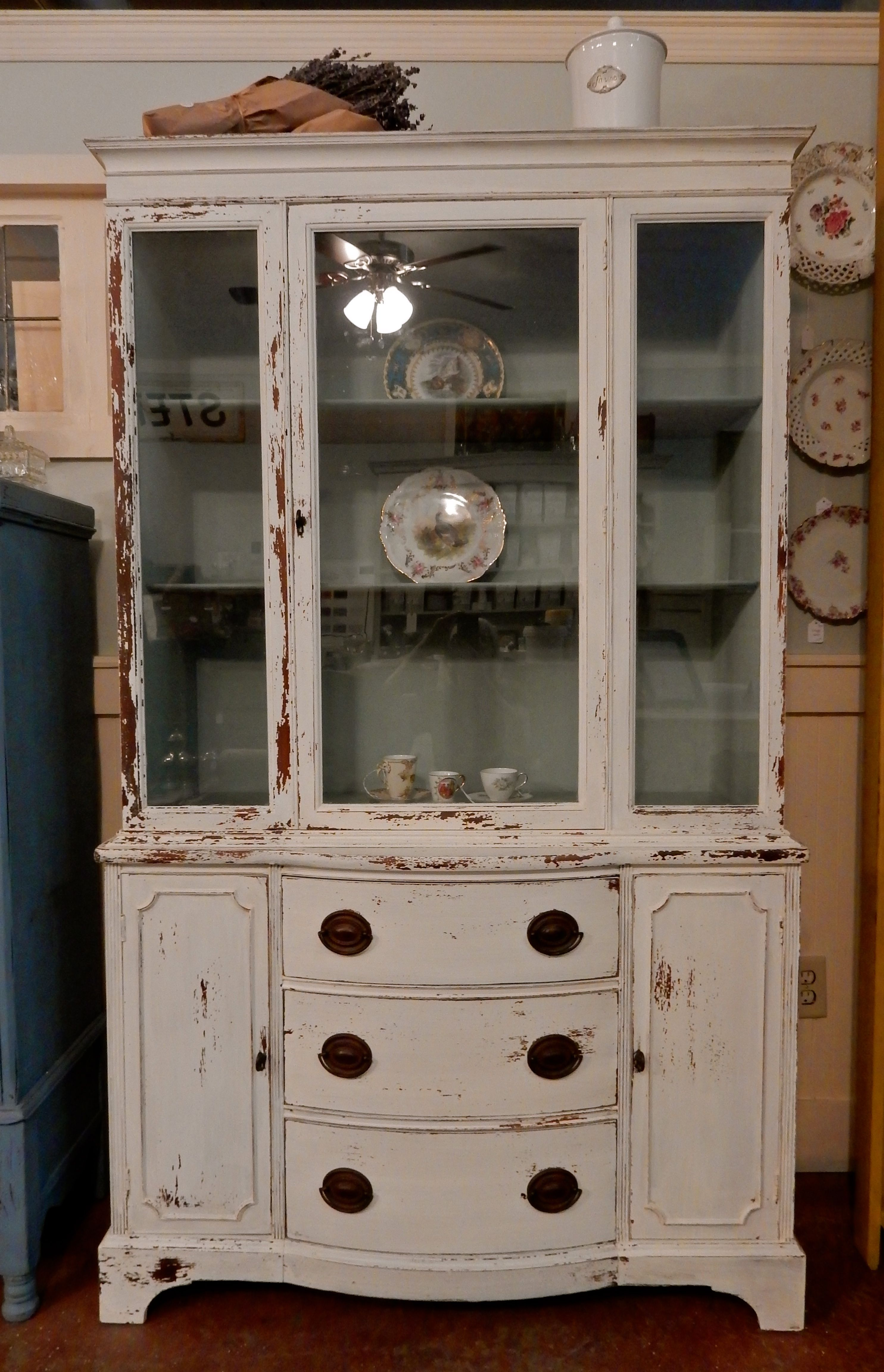 Vintage mahogany china cabinet Had lots of scratches and veneer