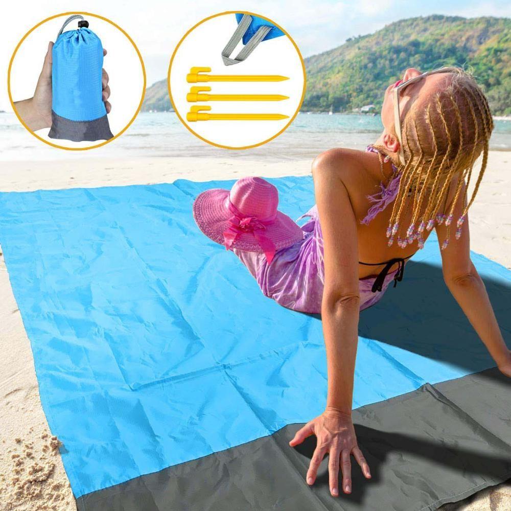 Best Waterproof Sand Free Beach Picnic Blanket Camping Folding Mat Orange Gray Blanket In 2020 Beach Picnic Free Beach Picnic Blanket