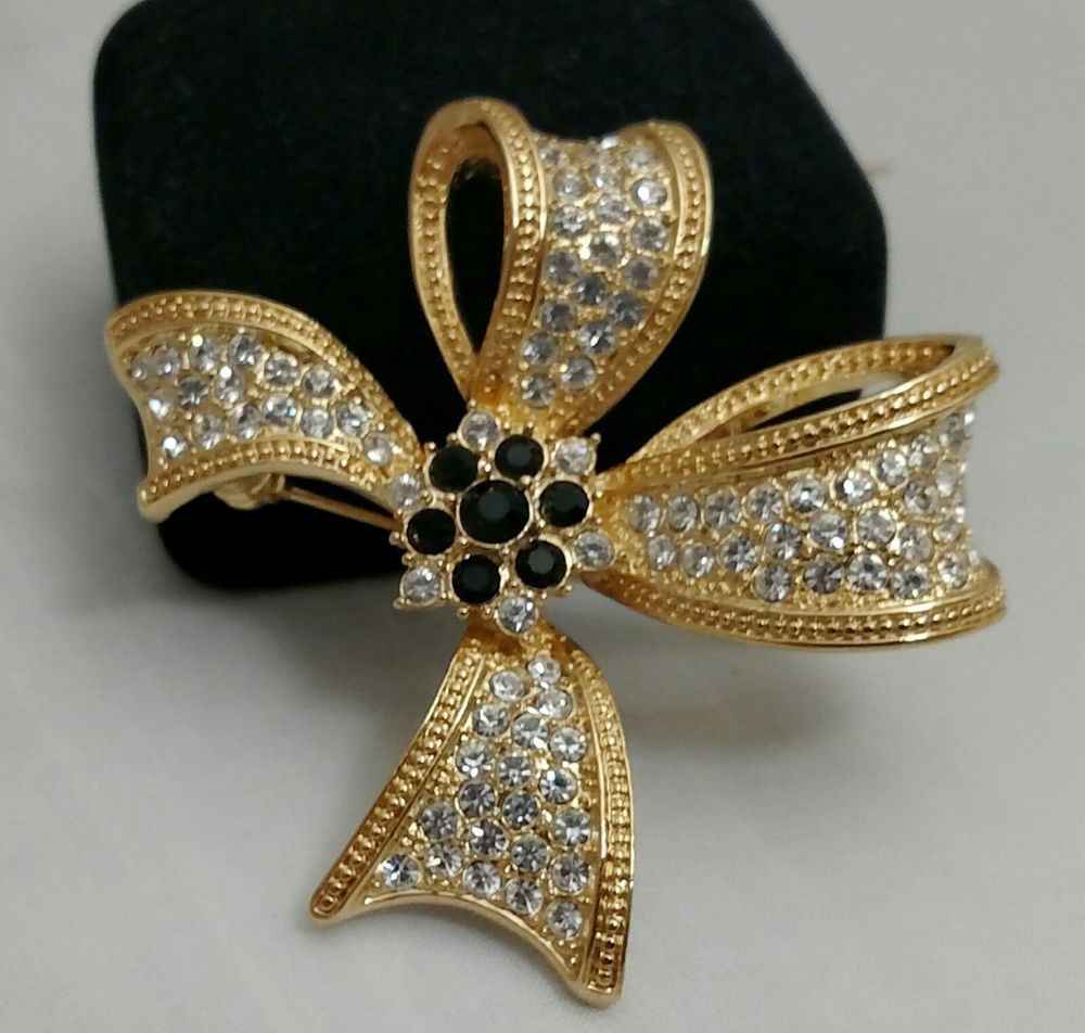 Pin On Pinimg: Sparkly Roman Rhinestone Retro Bow Brooch/Pin-Signed