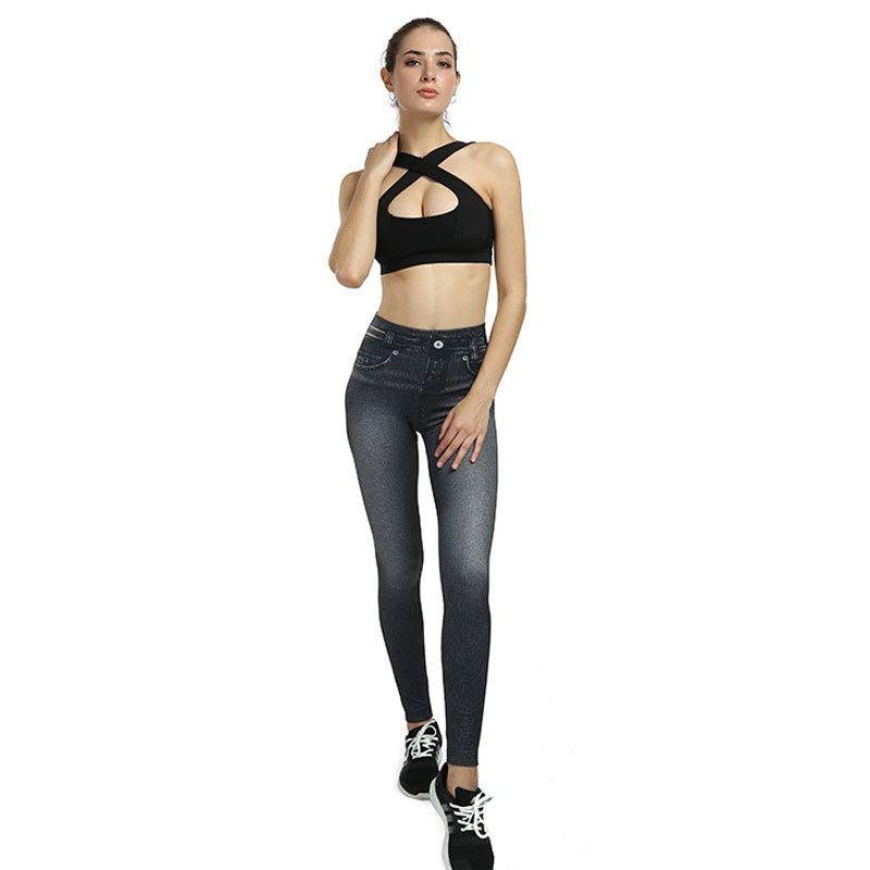5dc14e15f Fashion Imitation jeans Pants leggings Women Leggins Skinny hot selling  fitness Slim Thin High Elastic legging