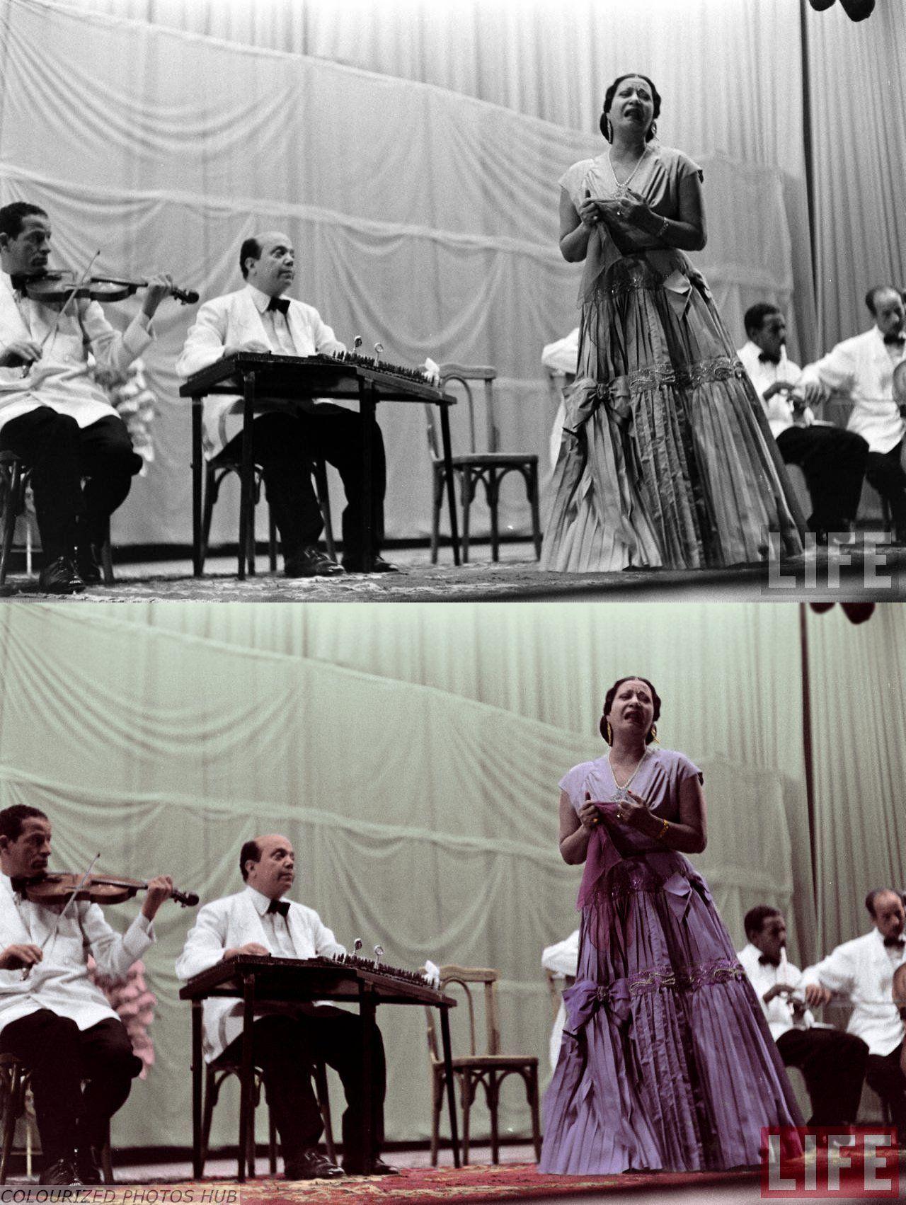 #ColorizedPhoto #Singer Fatimah Ibrahim As Sayyid Al Biltaji (Um Kulthum) Circa 1940s Egyptian singer and songwriter
