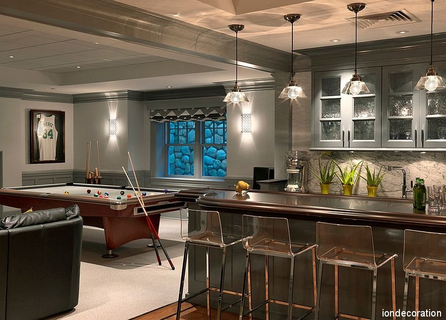 This Is A Gorgeous And Contemporary Basement With Gray Walls And