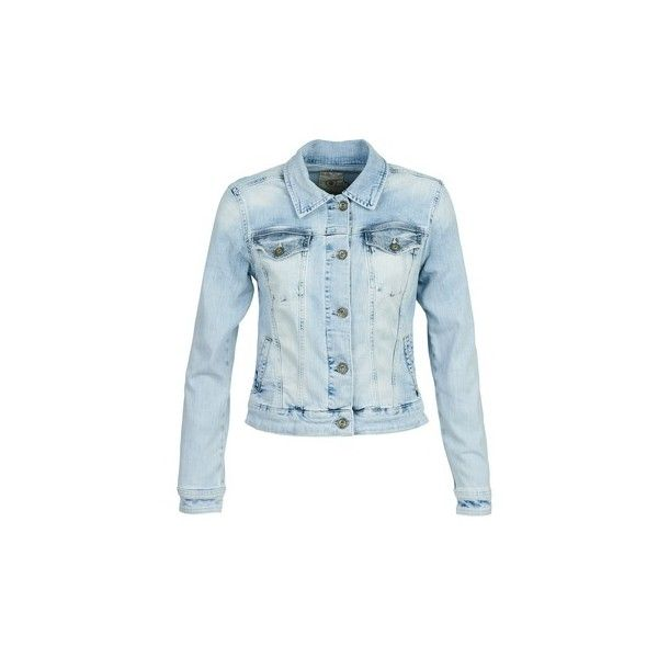 Freeman T.Porter MAISY Denim jacket (€100) ❤ liked on Polyvore featuring outerwear, jackets, blue, blue jean jacket, cocktail jackets, fitted jacket, vintage jean jacket and fitted jean jacket