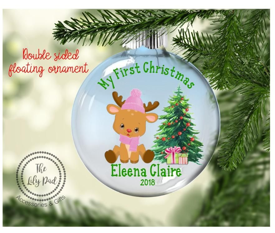 Baby girl first christmas floating ornament floating