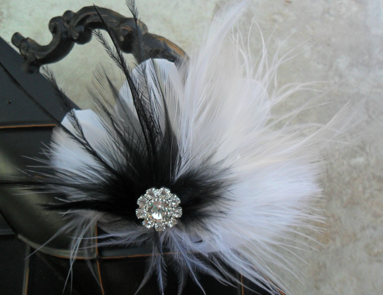 A BLACK & WHITE AFFAIR - feathered fascinator with rhinestone centerpiece