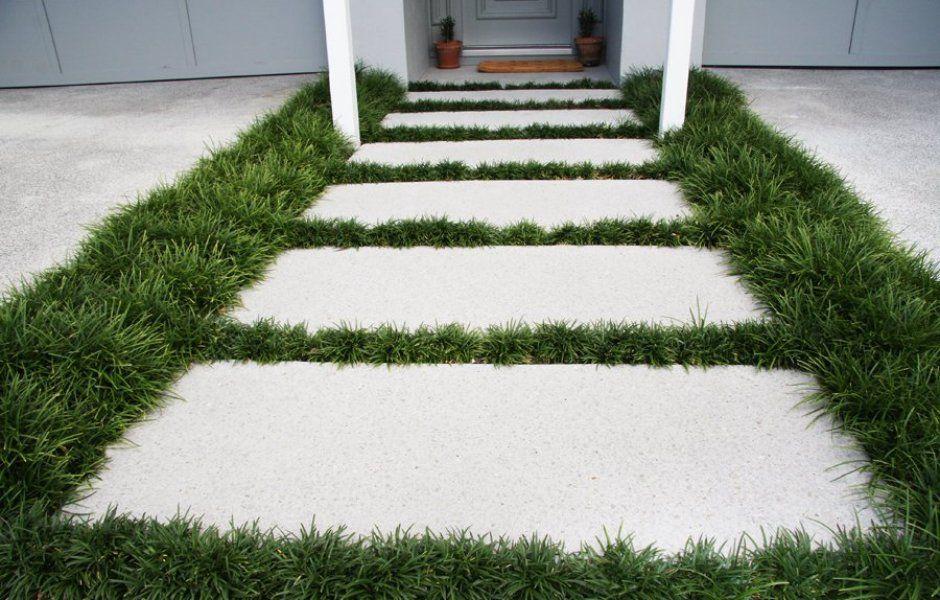 Pavers With Dwarf Mondo Grass Surround House Ideas