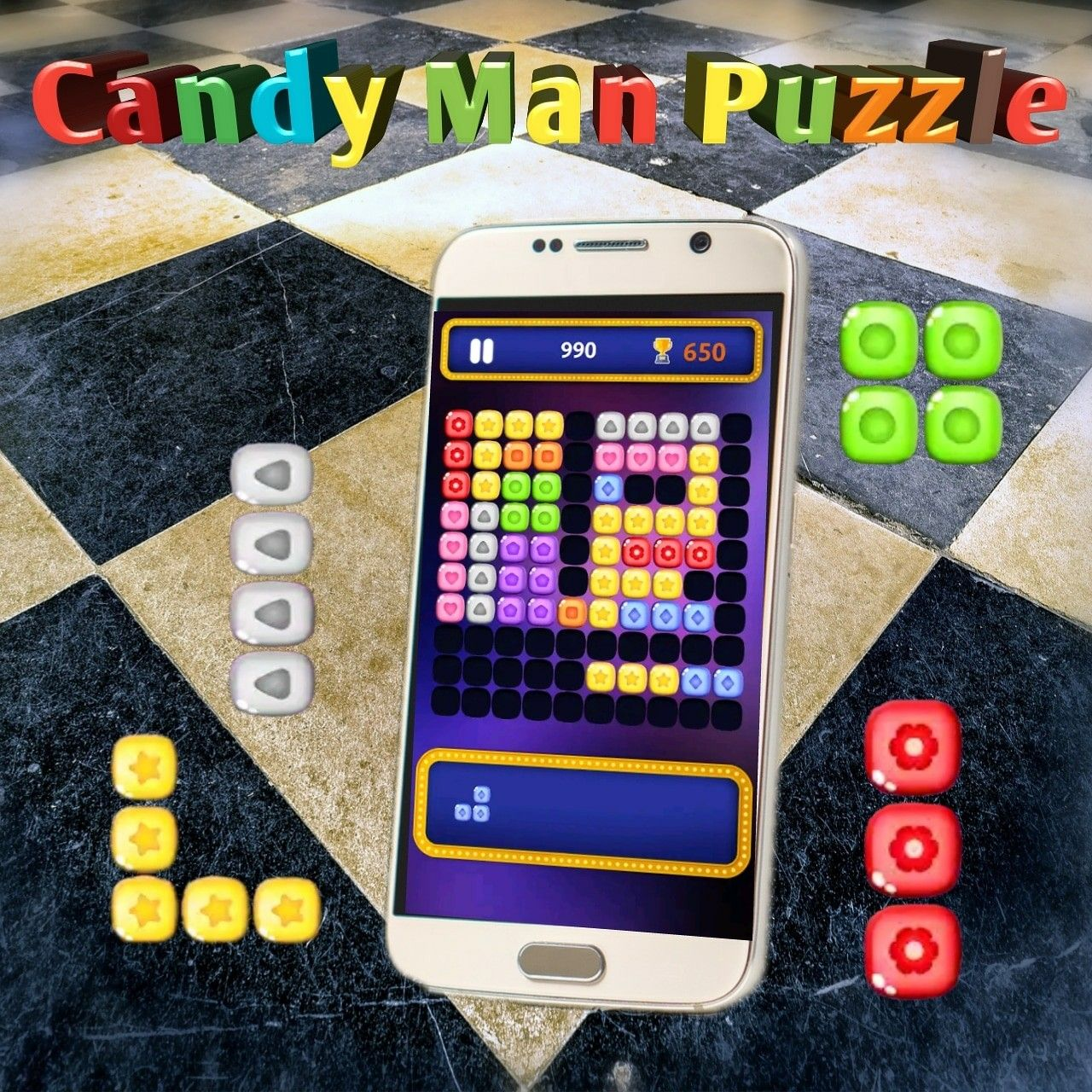 Candy Man Puzzle a challenging puzzle stacking game by
