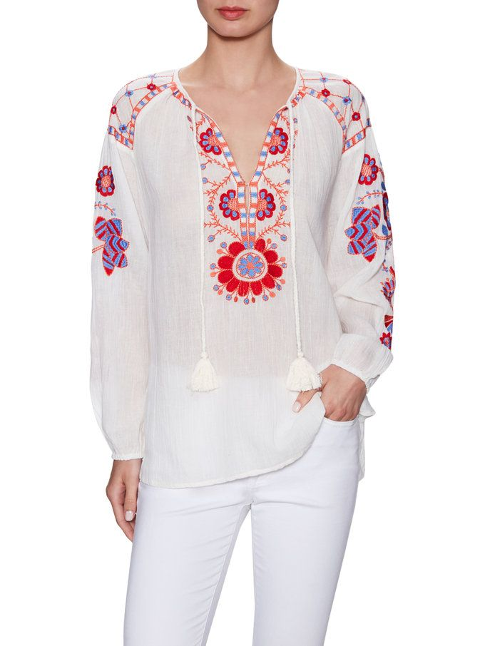 Cotton Embroidered Drawstring Blouse from 301 Key Summer Pieces on Gilt