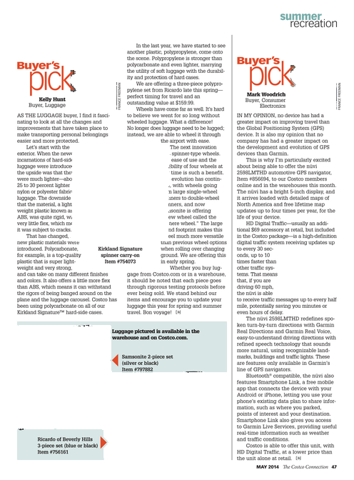2014-5 - The Costco Connection - Page 46-47 - Buyer's Pick - Luggage