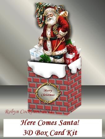 santa chimney card in box - Google Search