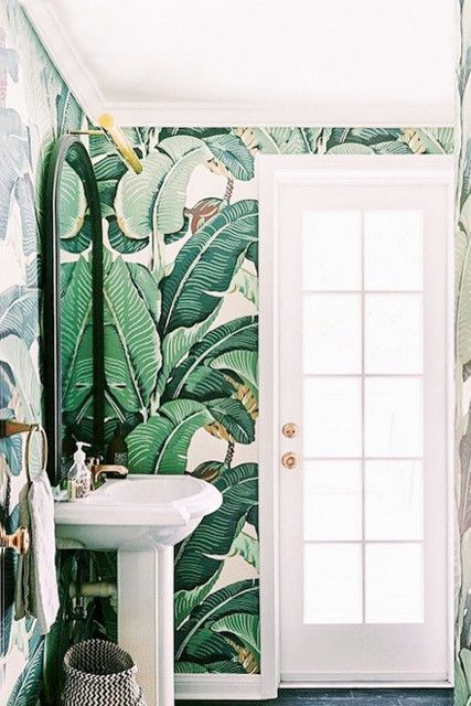 Banana Bath Tropical Bathroom Decor Tropical Bathroom Bathroom Wallpaper