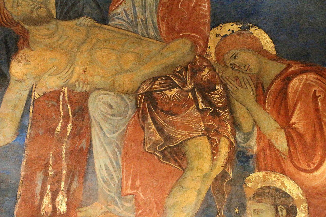Artisti senesi 2° metà del '200 (Guido da Siena, Dietisalvi di Speme, Guido di Graziano, e Rinaldo da Siena) - Compianto su Cristo morto (dettaglio) - affresco - 1280 circa - Cripta del Duomo, Siena