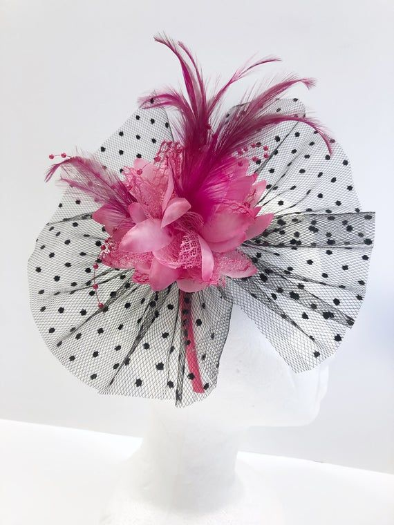 Fascinator, Shades of Pink Kentucky Derby hat with feathers, tiny pink bead strings and elegant black dot veiling accents #fascinatorstyles