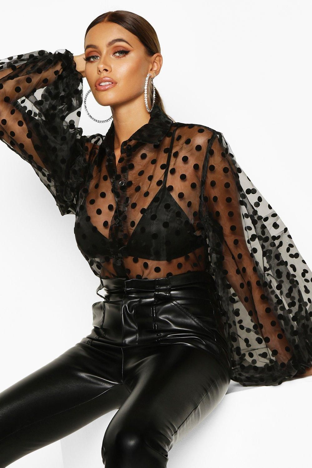 mesh polka dot spotty puff sleeve organza tie up blouse black and pink