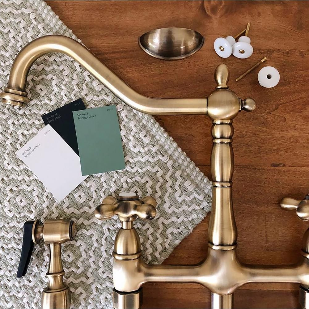 Kingston Brass Victorian Lever 2 Handle Bridge Kitchen Faucet With Side Sprayer In Antique Brass Hks1273axbs The Home Depot Bridge Faucet Kitchen Kitchen Faucet Antique Brass Kitchen Faucet