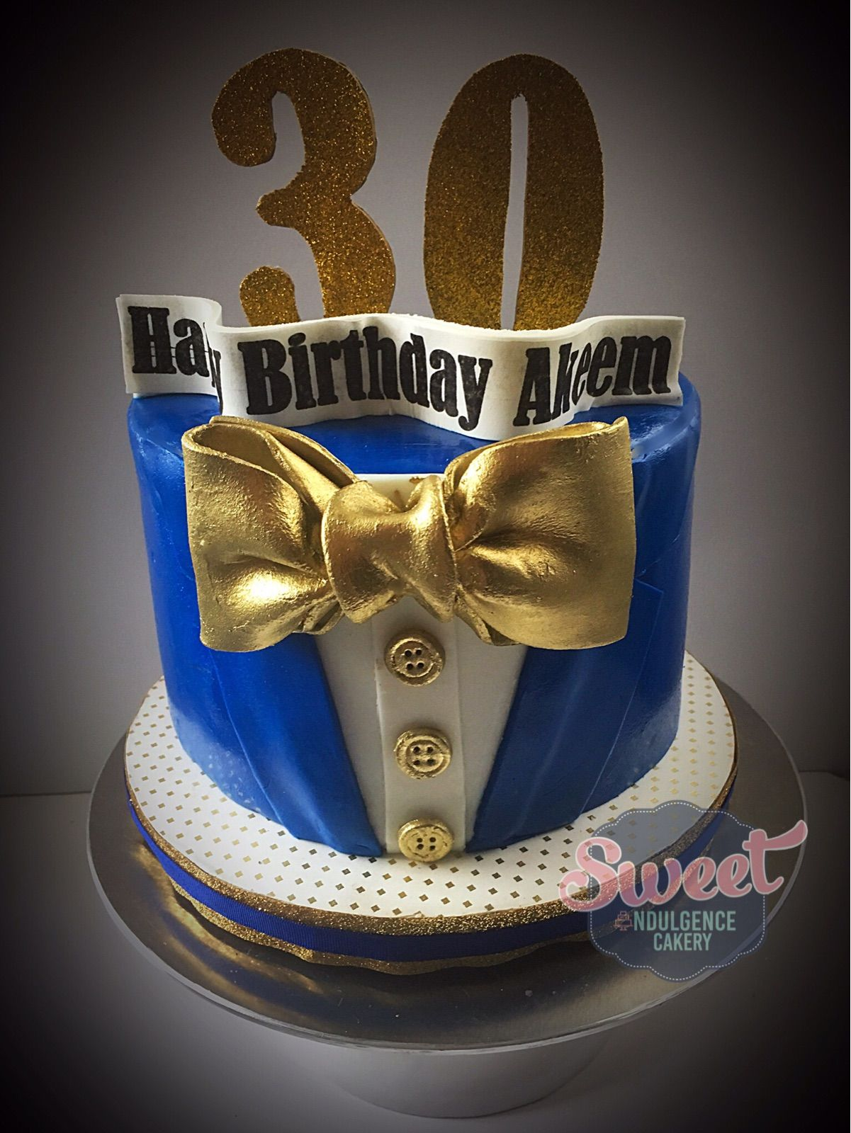 30th birthday blue and gold tux cake Cake, 30th birthday