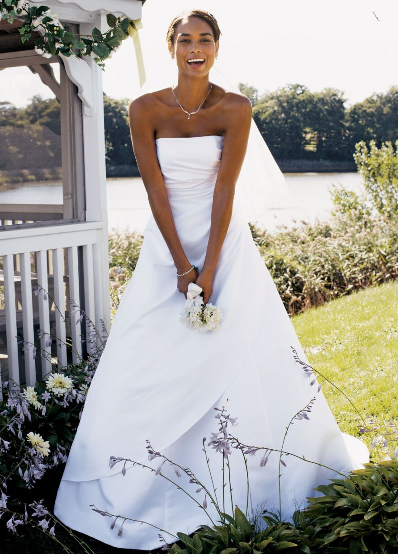 Fancy Satin A line with Asymmetrical Skirt David us Bridal mobile