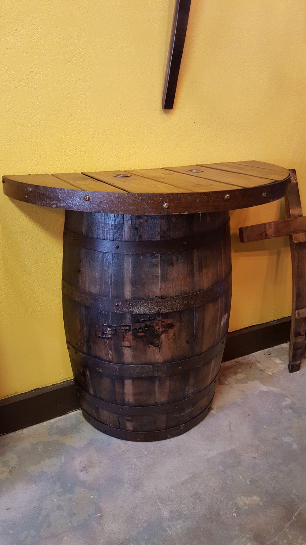 Half And Half Spool Table King Barrel Spool Tables Whiskey Barrel Furniture Whiskey Barrel Table