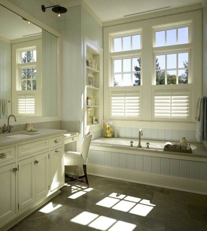 Source: Hickman Design Associates Master Bathroom With Wood Paneled Walls  And Drop In Tub