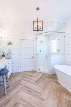 White Shiplap Bathroom With Herringbone Wood Floor Home