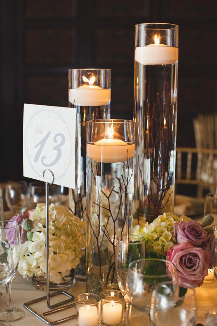 Fabulous floating candle ideas for weddings floating for Small table decorations for weddings