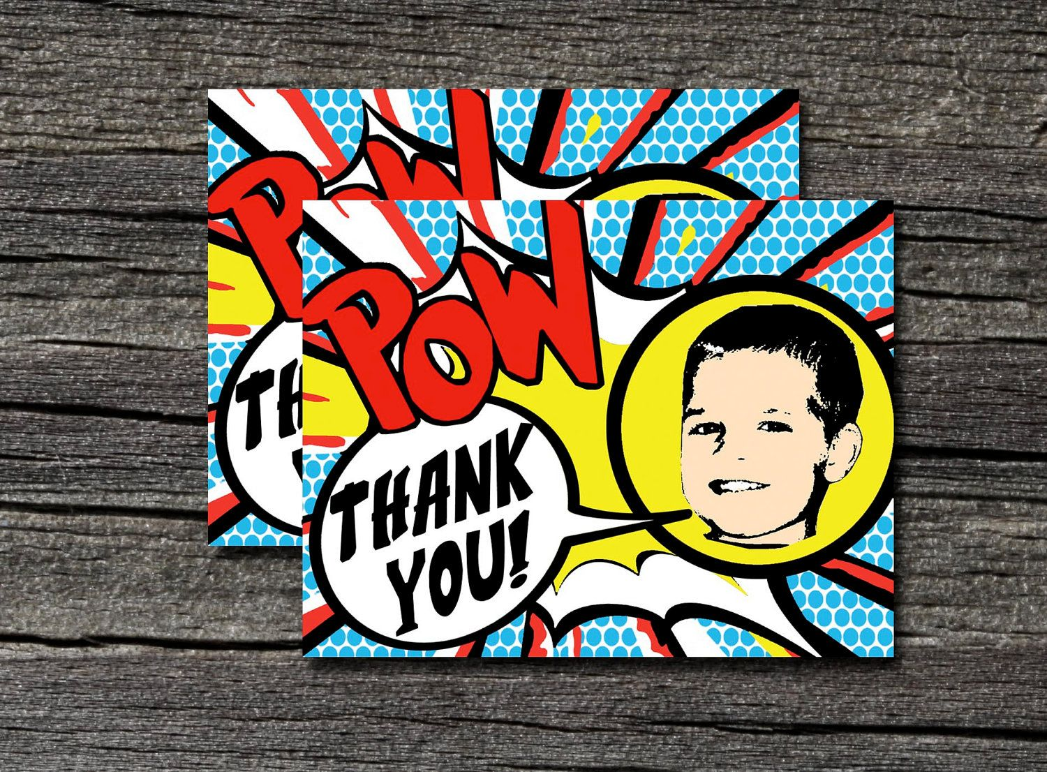 Pack of 25 Superhero Thank You Cards with envelopes via Etsy.
