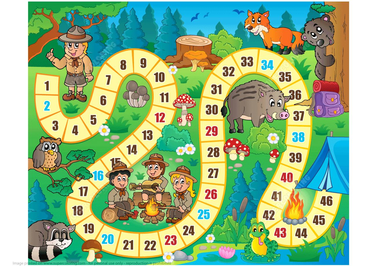 Camping Board Game Printable Template Super Coloring Papercraft Templates Templates Printable Free Board Games