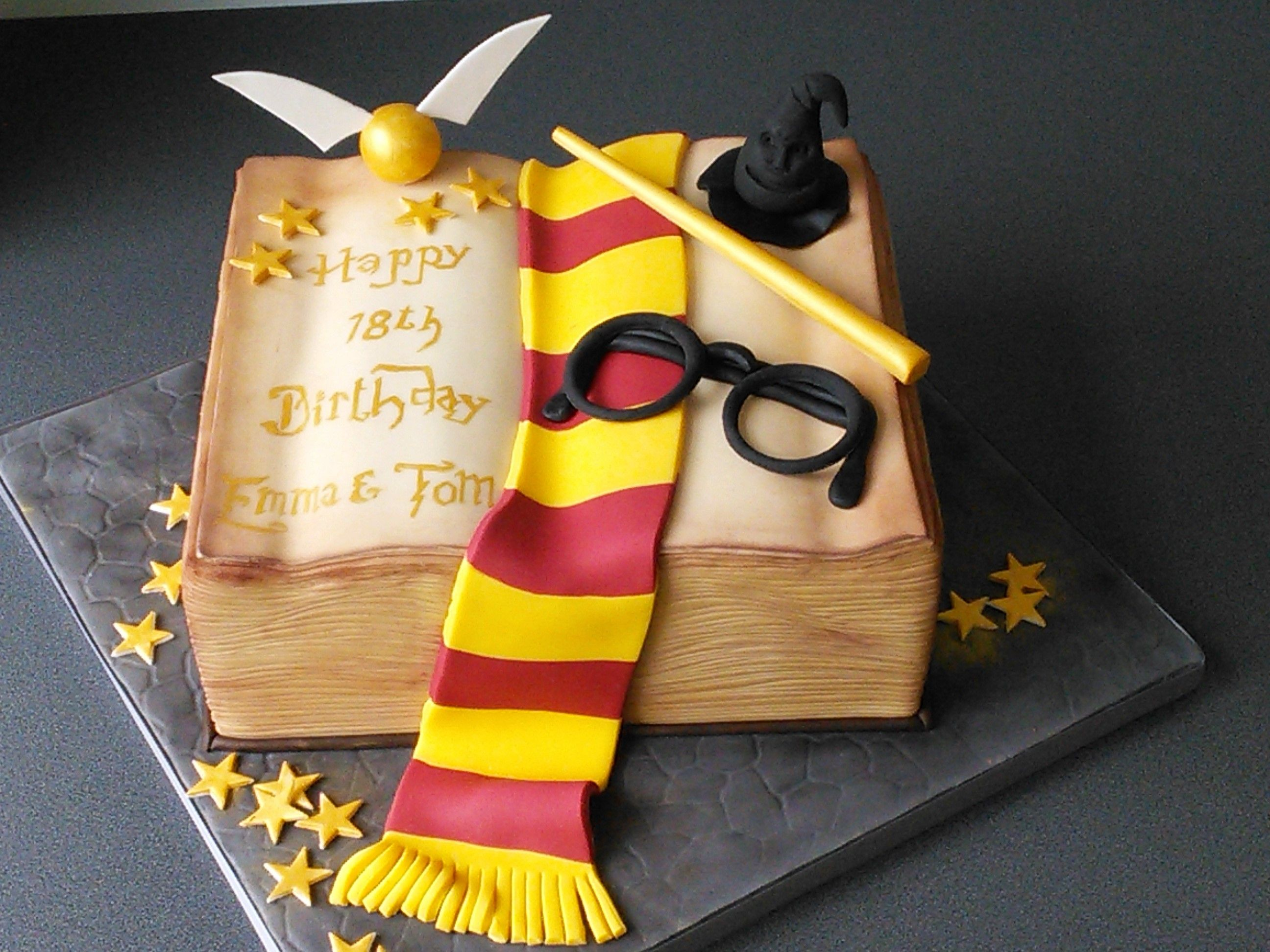 18th Birthday Harry Potter Spell Book With Scarf Wand Hat And Snitch