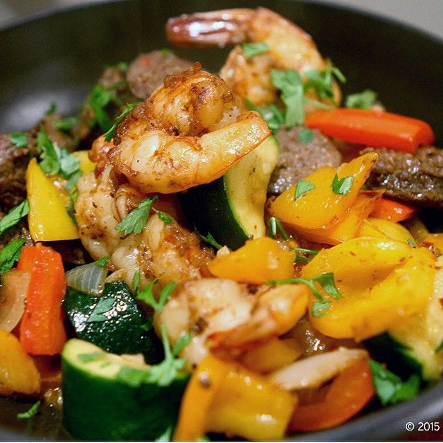 """""""SHRIMP AND SAUSAGE STIR FRY Big Chin Kitchen with my last post for this Saturday. I literally made this about 20 minutes ago. Looking for a fast, easy and…"""""""